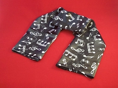 Ladies Black Scarf Music Notes Symbols