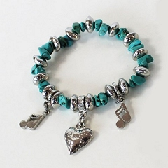 Luna London Bracelet Turquoise Stonechip Love Heart Musical Notes