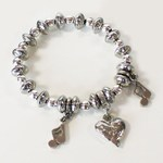 Luna London Bracelet Pewter Bead Love Heart Musical Notes