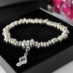 Luna London Bracelet Pewter Slinks with Music Note Droplet Charm