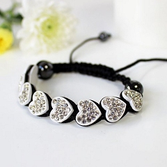 Shamballa Crystal Bracelet White Love Hearts