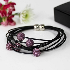 Pink Crystal Beads Bracelet With Magnetic Fastening Leather Straps