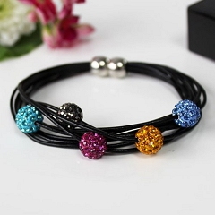 Multi-Coloured Crystal Beads Bracelet With Magnetic Fastening Leather Straps