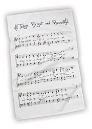 100% Cotton All Things Bright and Beautiful Hymn Tea Towel