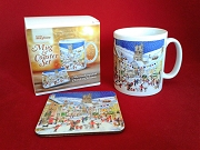 "Ceramic Moretonhampstead ""Church At Christmas\"" Coffee Tea Mug and Coaster Set (Gift Boxed)"