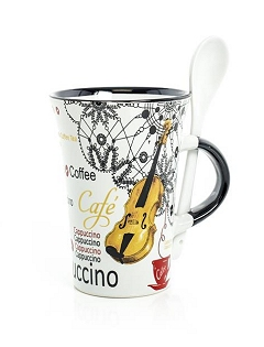 Little Snoring Gifts: Cappuccino Mug With Spoon – Violin (White)