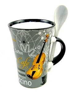 Little Snoring Gifts: Cappuccino Mug With Spoon – Violin (Grey)