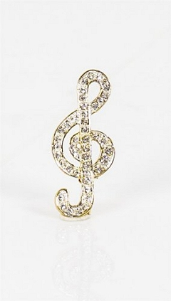 Crystal Encrusted Silver/Gold Finish Bold Treble Clef Brooch