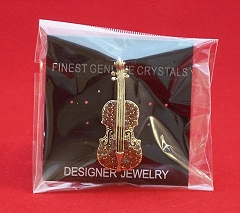 Red Crystal Encrusted Gold-Finish Violin Brooch
