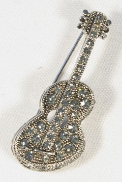 Crystal Encrusted Pewter-Finish Acoustic Guitar Brooch