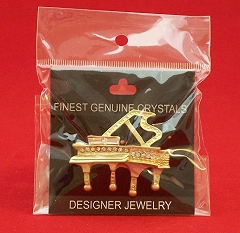 Crystal Encrusted Gold-Finish Grand Piano Brooch