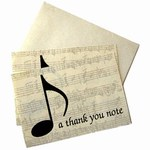 Music Note Thank You Cards / Notelets With Envelopes (Pack of 10)