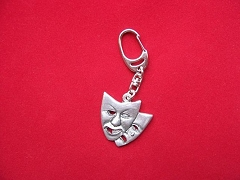 Comedy Tragedy Theatrical Masks Pewter Keyring