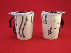 Ceramic Coffee/Tea Mug With Lid Vertical Music Notes Staves