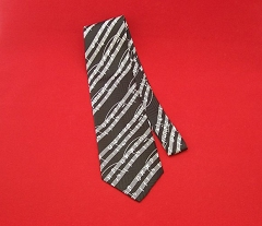Men's Elegant Music Notes Black Silk Tie