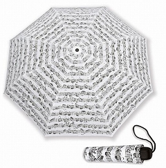 Sheet Music Notes Vienna World Mini Compact White Umbrella